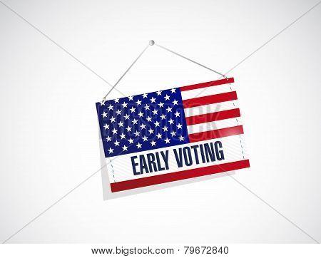 Early Voting Us Flag Banner Illustration