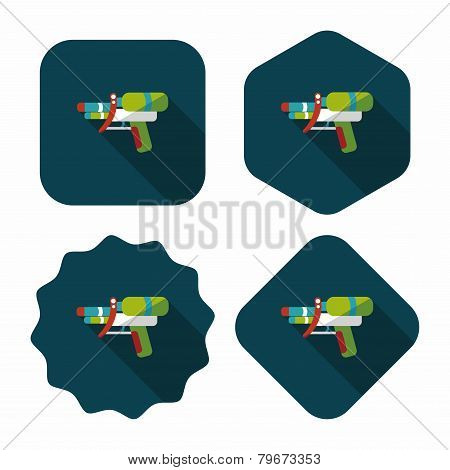 Water Gun Flat Icon With Long Shadow,eps10