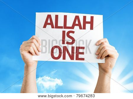 Allah is One card with a beautiful day