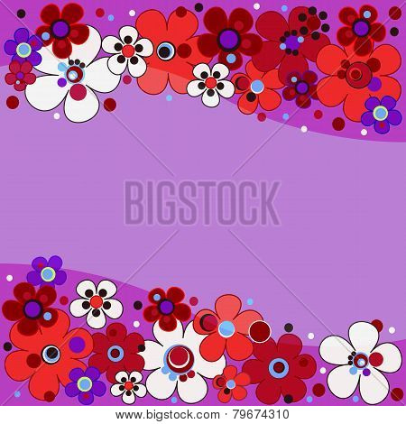Floral Pattern In Lilac Tones With Red Flowers