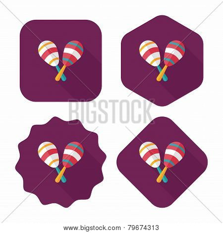 Wooden Rattle Flat Icon With Long Shadow,eps10
