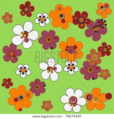 Seamless Floral Pattern In Terracotta Tones On Green Background