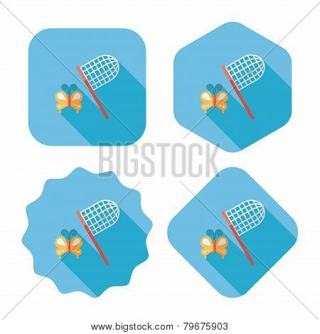 Butterfly Net Flat Icon With Long Shadow,eps10