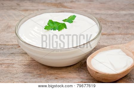 Sour Cream In A Glass Bowl