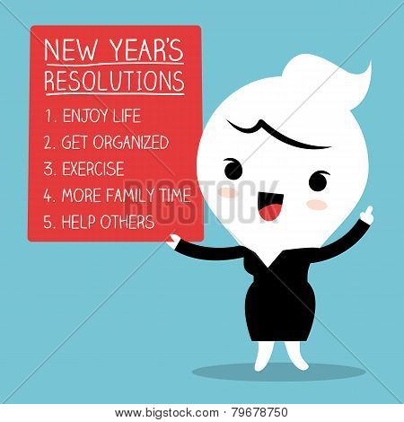 Smiling Businesswoman With New Year Resolutions List