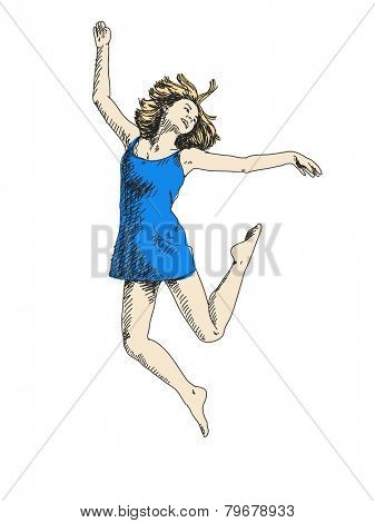 Sketch of dancing woman in blue dress Hand drawn vector illustration