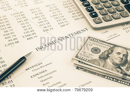 Money And Income Statement Report In Sepia Tone