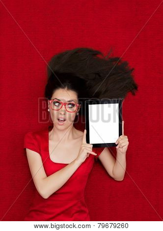 Surprised Woman Wearing Glasses Holding Tablet