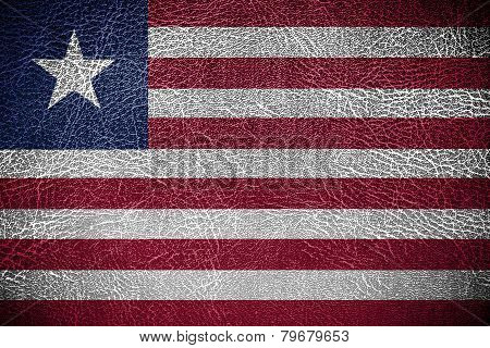 Liberia Flag painted on leather texture