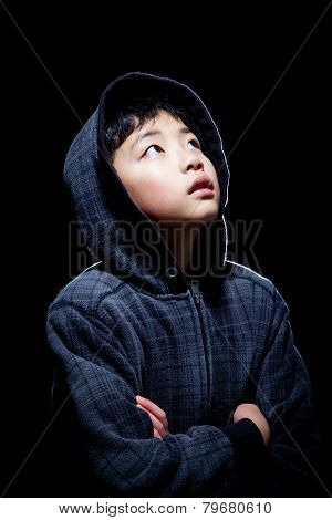 Cute Asian Boy Wearing Hooded Sweatshirt