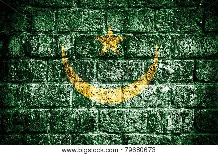 Mauritania flag painted on grunge wall
