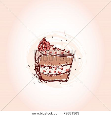 piece of chocolate cake Hand drawn sketch on pink background. vector