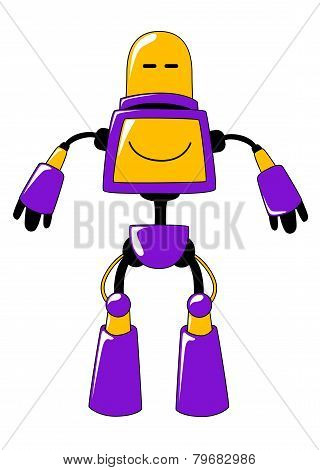 Futuristic toy robot in vivid yellow and blue