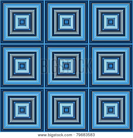 Blue color square tiles seamless illustration.