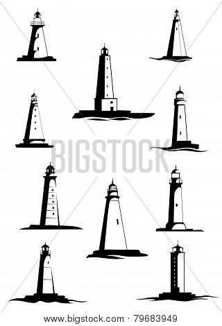 Black and white old lighthouses, isolated on white