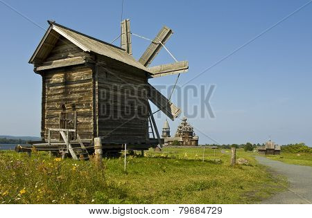 Wooden Windmill And Churches, Kizhi