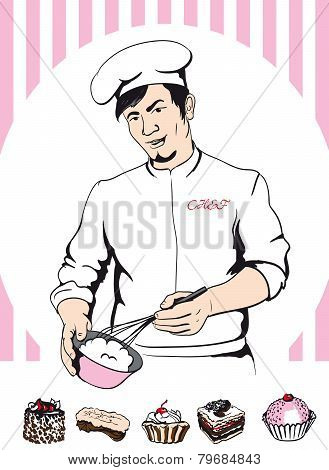 man confectioner during cooking