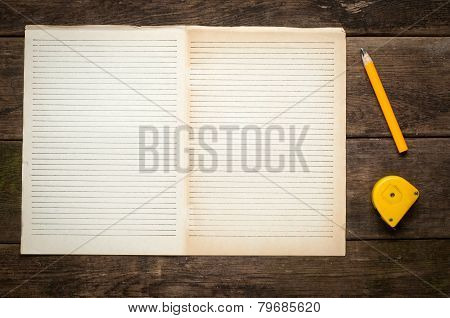 Blank Note Book page With Wood Pencil on Table Desk Background, Rustic Style, Concept and Idea for W