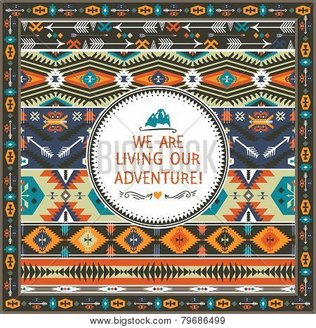 Navajo seamless tribal colorful pattern