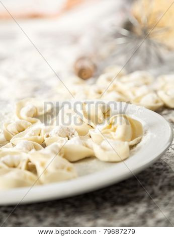 Closeup of raw ravioli pasta in plate on countertop in commercial kitchen