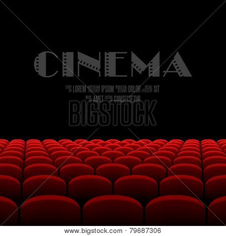 Cinema auditorium with black screen and red seats. Vector.