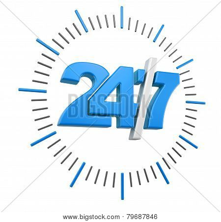 24/7 Sign (clipping path included)