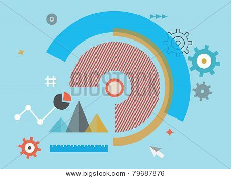 Flat Vector Illustration Of Analytics Information And Process Of Development