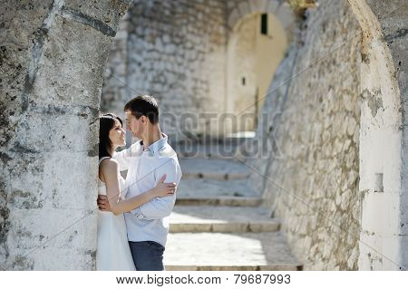 Romantic Couple In Sperlonga Near Rome, Italy