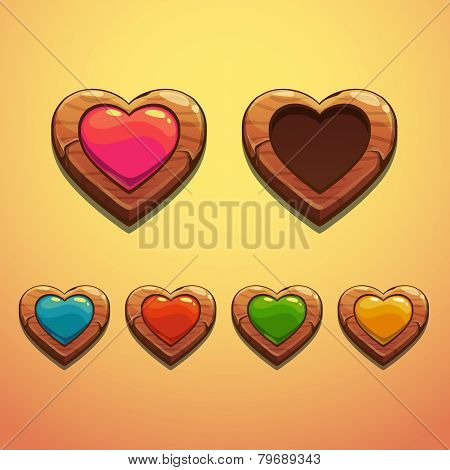 Set of cartoon wooden hearts