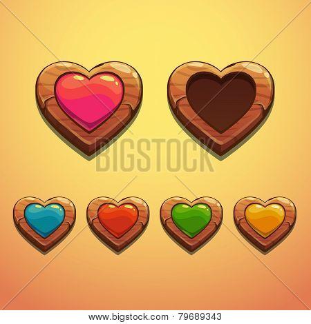 Set of cartoon wooden hearts