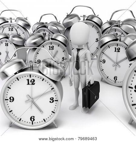 3d man businessman and alarm clocks on white background