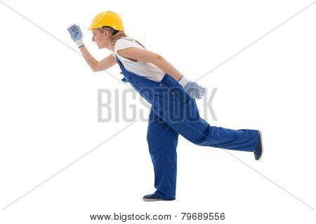 Career Concept - Running Woman In Blue Builder Uniform Isolated On White
