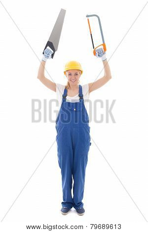 Young Woman In Blue Builder Uniform With Two Saw Isolated On White