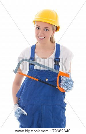 Young Woman In Blue Builder Uniform With Saw Isolated On White