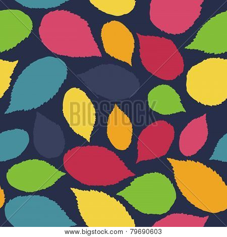 Seamless pattern with leaf, autumn leaf background. Abstract raspberry leaf texture.
