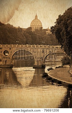 Old Styled View Of The Tiber And Saint Peter, Rome