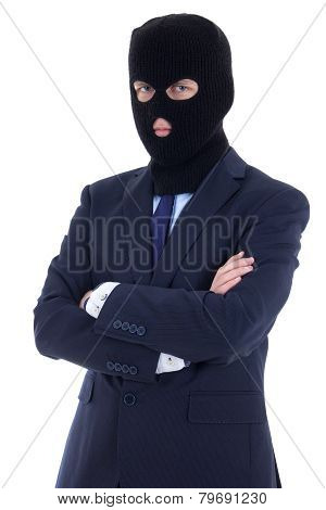 Corruption Concept - Man In Business Suit And Black Mask Isolated On White