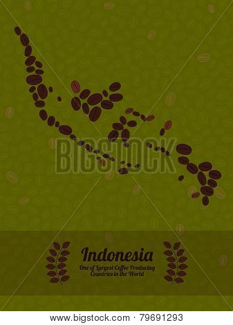 Indonesia map made of roasted coffee beans. Vector illustration.