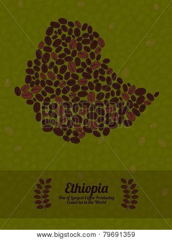 Ethiopia map made of roasted coffee beans. Vector illustration.