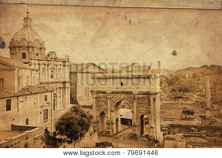Antique Fashioned Image Of Ruins Of Roman Forum, Rome, Italy