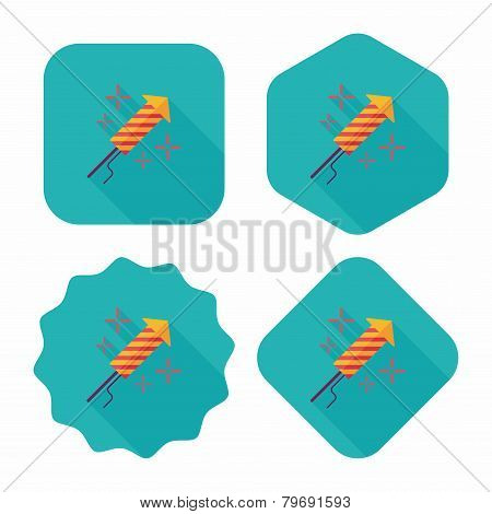 Firecracker Flat Icon With Long Shadow