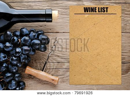 Bottle Of Wine, Corkscrew, Grape And Blank Wine List