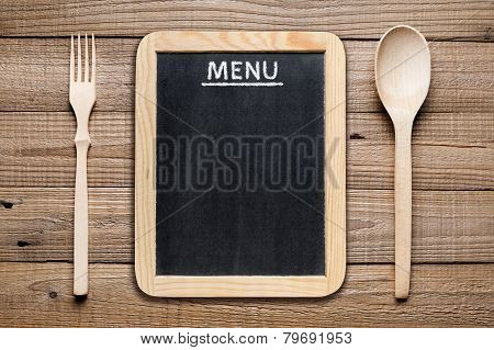 Menu Board, Wooden Fork And Spoon