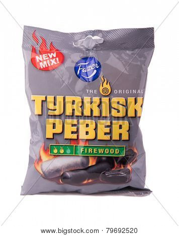 DEPEW, OK, USA - January 8th, 2015: Photo of a 150g bag of Turkisk peber Firewood liquorice candy made by Fazer. Fazer is one of the largest corporations in Finnish food industry.