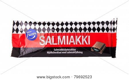 DEPEW, OK, USA - January 8th, 2015: Photo of a Salmiakki  liquorice filled milk chocolate bar made by Fazer. Fazer is one of the largest corporations in Finnish food industry.