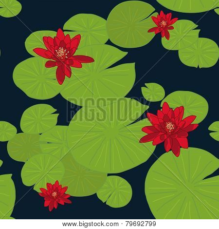 Red Lotuses in the pond. Lake Water Lilies. Seamless ornament.