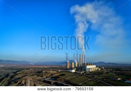 Surface Lignite Pit And Power Station Ais Kardias In Kozani, Greece.