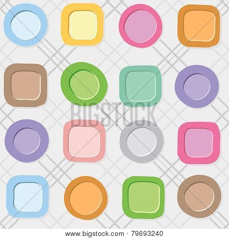 Colorful Plates on a checkered white background.