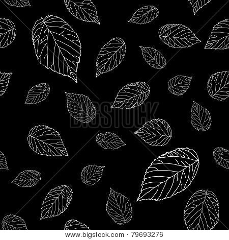 Black and white raspberry leaves. Seamless monochrome pattern.