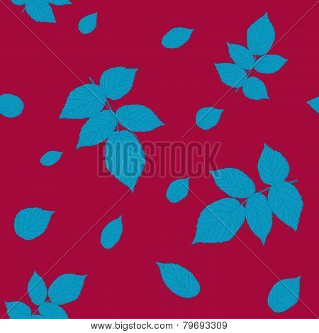 Seamless pattern with raspberry leaves. Vivid red and blue colored illustration.